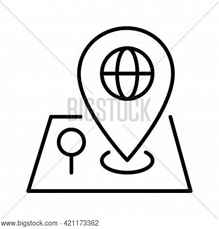 Monochrome Simple Pin Point Location Search On Map Icon Vector Illustration Gps Locate Position