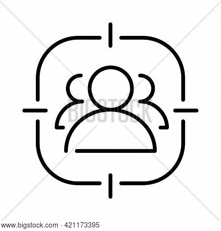 Contoured Simple Staff Search Icon Vector Illustration. Headhunting, Choosing Candidate, Recruiting