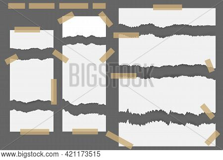 Torn Ripped Paper Sheets With Sticker. White Ripped Blank Horizontal Stripes For Text Or Message Stu
