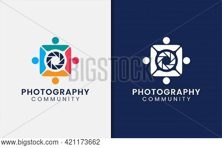 A Group Of People Who Forming The Camera Body, Photography Community Logo Design. Graphic Design Ele