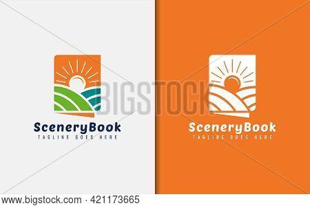 Book Shape With Landscape View And Sunshine Logo Design. Graphic Design Element.