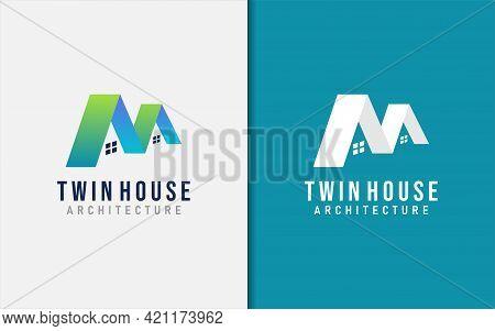 Twin House Logo Design. Modern Building And Architecture Logo Illustration. Graphic Design Element.