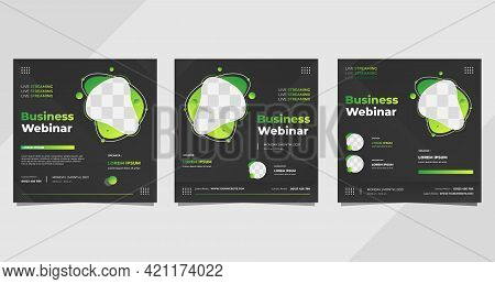 Set Of Business Webinar Social Media Post Template With Liquid Shape And Black Background
