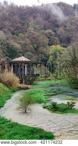 An Abandoned Pavilion At The Psyrtskha Railway Station. Abkhazia.