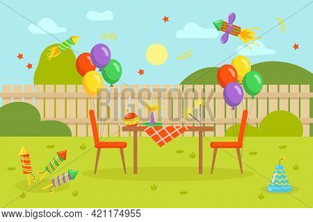 Colorful Fireworks And Balloons With Table In Backyard. Firecrackers, Confetti, Table, Chairs, Fence