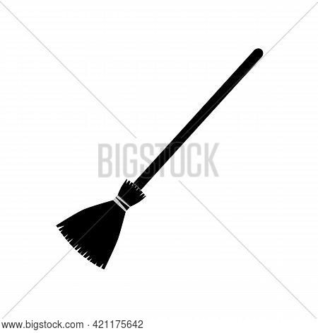 Broom Long Icon On White Background. Broom Sign. Broom Stick With Long Wooden Handle Symbol. Tool Fo