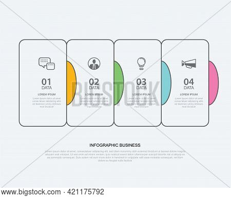 4 Data Infographics Tab Paper Thin Line Index Template. Vector Illustration Abstract Background. Can