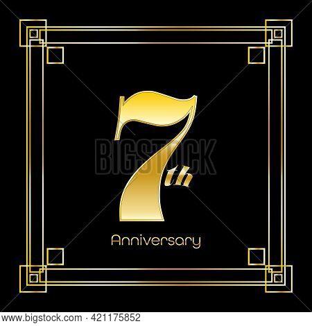 Number Seven Logo Design With Square Ornament, Luxury Golden Design, Anniversary Concept, Vector Ill