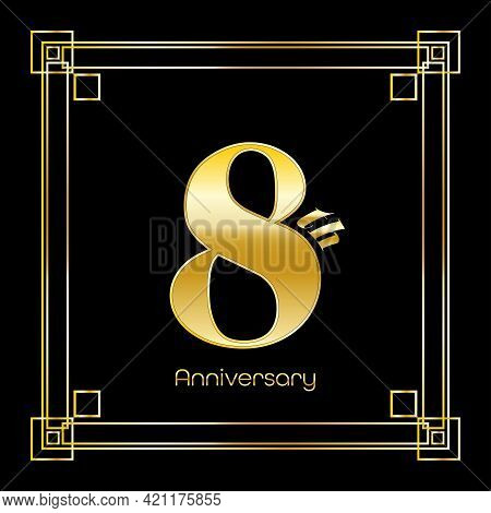 Number Eight Logo Design With Square Ornament, Luxury Golden Design, Anniversary Concept, Vector Ill