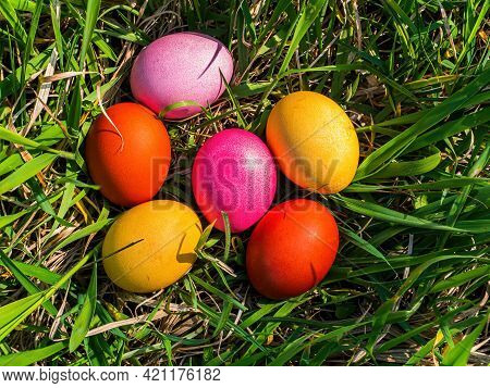 Colored Chicken Easter Eggs In Green Grass. Easter Holiday. Egg. Green Grass. Christian Religion. Re