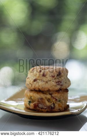 Close Up Group Of Fresh Yummy Tasty Delicious Scones