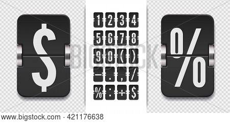 Vintage Symbols Time Meter Vector Template. Analog Countdown Font. Flip Numbers Font For Time Counte