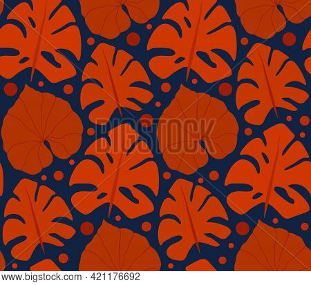 Contrast Retro Pattern With Red Silhouettes Of Monstera And Liana Leaves On A Blue Background. Tropi