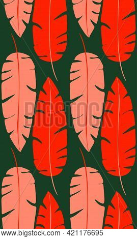 Contrast Retro Pattern With Red Silhouettes Of Banana Leaves On Green Background. Tropical Texture.