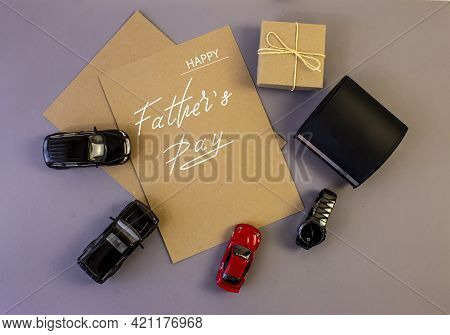 Happy Father's Day. Flat Lay On Father's Day Theme.