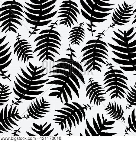 Black And White With Fern Leaves Seamless Pattern Background Design.