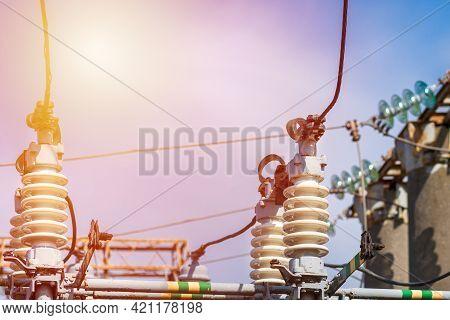 High Voltage Power Transformer In Substation.general View To High-voltage Substation With Switches.s