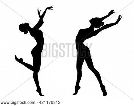 Abstract Black Stencil Silhouettes Of Slender Charming Women Dancer In Move, Hand Drawing Vector Ill