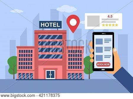 Man Reading Review And Make A Hotel Reservation Via Smartphone App In Flat Design. Hotel Booking Con