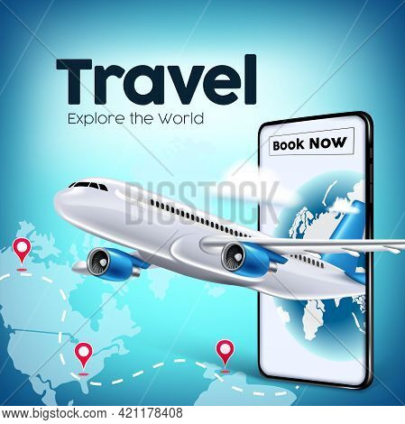 Travel World Vector Banner Design. Travel And Book Now Text In Mobile App With Airplane Transportati