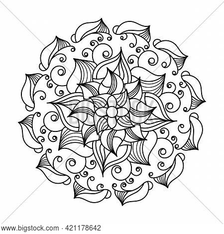 Coloring Book, Mandala, Abstract Elements, Flower Pattern . For Adults And Older Children. Black And