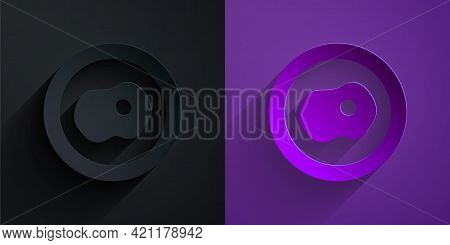 Paper Cut Scrambled Eggs Icon Isolated On Black On Purple Background. Home Cooked Food, Fried Egg, H