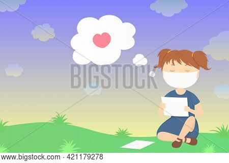 Girl In Mask Read Letter With Declaration Of Love. Vector Illustration.