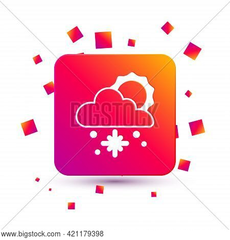 White Cloud With Snow And Sun Icon Isolated On White Background. Cloud With Snowflakes. Single Weath
