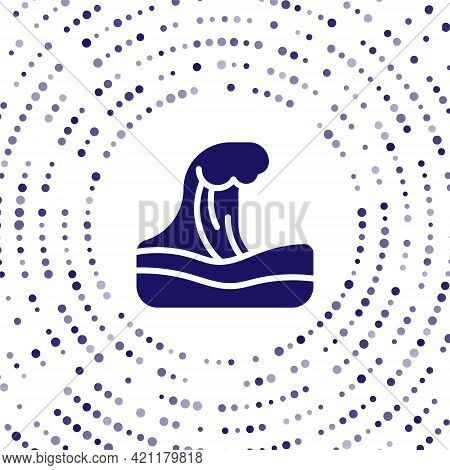 Blue Tsunami Icon Isolated On White Background. Flood Disaster. Stormy Weather By Seaside, Ocean Or