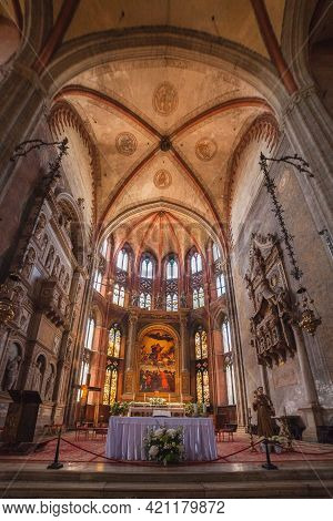 Venice, Italy - June 15, 2016 Basilica Of Santa Maria Gloriosa Dei Frari, Indoors. View On Main Alta
