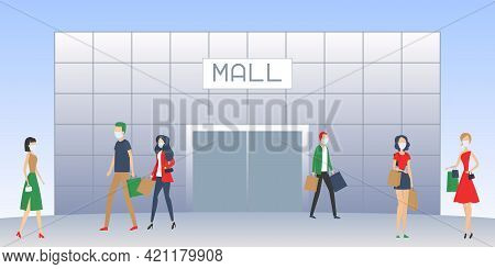 Shopping Mall And People In Masks. Vector Illustration.