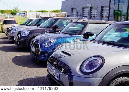 Bordeaux , Aquitaine France - 05 18 2021 : Mini New Model Car Second-hand Park For Sale In Dealershi