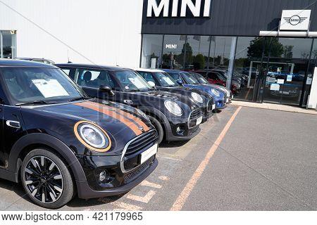 Bordeaux , Aquitaine France - 05 18 2021 : Mini New Car Modern Parked Sale Vehicles Cooper Dealershi