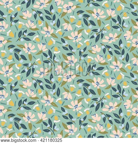 Tea Time Floral Seamless Vector Pattern. Beautiful Solid Flowers Painted In Pink, Yellow And Blue Wi