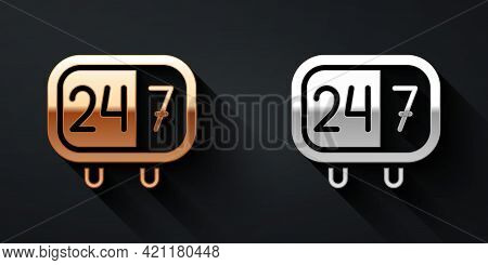 Gold And Silver Clock 24 Hours Icon Isolated On Black Background. All Day Cyclic Icon. 24 Hours Serv