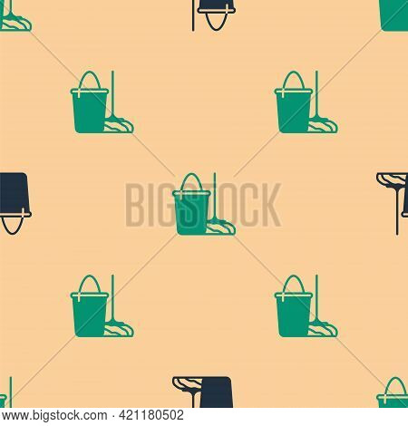 Green And Black Mop And Bucket Icon Isolated Seamless Pattern On Beige Background. Cleaning Service