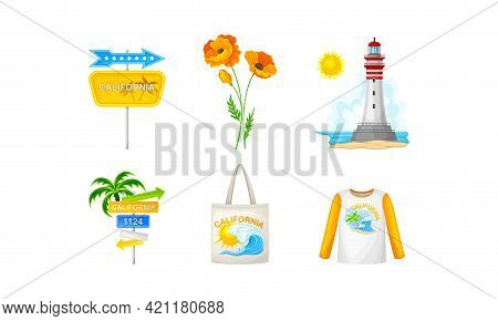 California As Travel Destination With Road Sign And Lighthouse Vector Composition Set