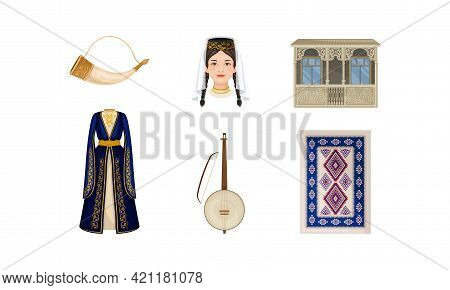 Georgia Attributes With Laced Terrace And Animal Horn For Wine Vector Set