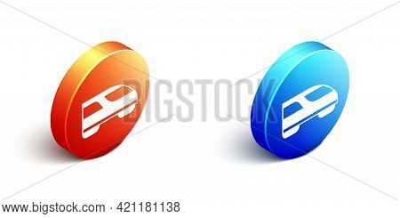 Isometric High-speed Train Icon Isolated On White Background. Railroad Travel And Railway Tourism. S