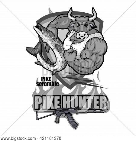 Pike Image. Fishing Pike Tournament. Pike Competition Logo. Fish Monster. Sketch For Mascot, Logo Or