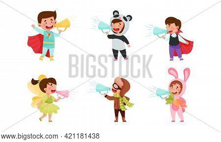 Kid Characters Wearing Fancy Dress Or Costume Talking Megaphone Or Loudspeaker Vector Illustration S