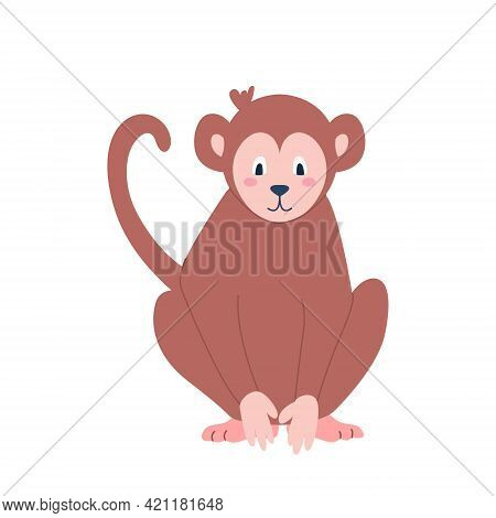 Cute Monkey Sitting On A White Background. Vector Image In Cartoon Flat Style. Decor For Childrens P