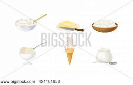 Dairy Products With Sour Cream In Bowl, Butter And Ice Cream Vector Set
