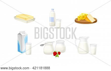 Dairy Products With Butter, Bottle Of Milk And Cheese Slabs Vector Set
