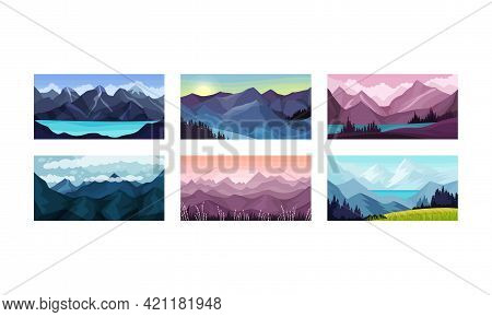 Mountain Landscape With Peaks And Rocky Hills Vector Illustration Set.