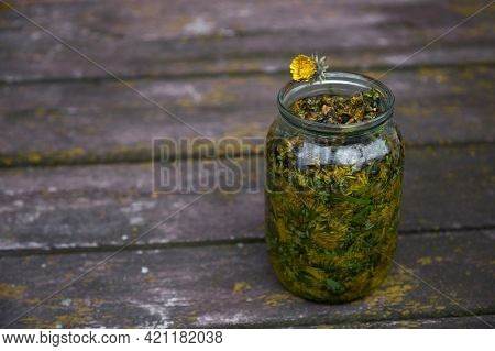 Natural Wellness Concept. Dandelion Tincture Is A Natural Homeopathic Remedy At Home. Dandelion Infu