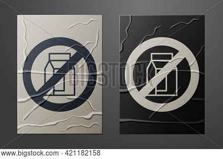 White No Pack Of Milk Icon Isolated White Background. Not Allow Milk. Allergy Concept, Lactose Intol