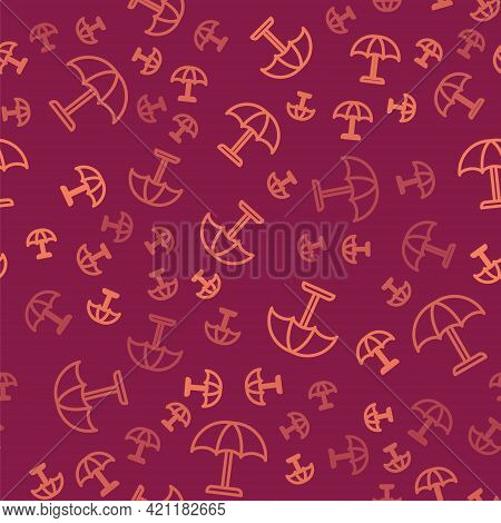 Brown Line Sun Protective Umbrella For Beach Icon Isolated Seamless Pattern On Red Background. Large