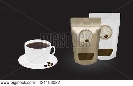 Gold And White Packaging Aluminum Foil Zipper Coffee Beans Pouch With Transparent Window And A Cup O