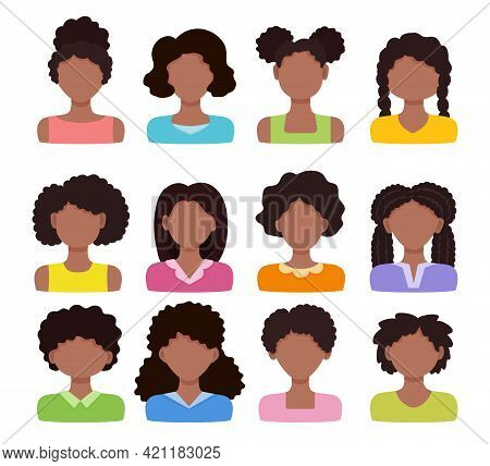 African Woman Avatar Set. Vector Illustration. Black Girls With Different Hairstyles. Female Cartoon